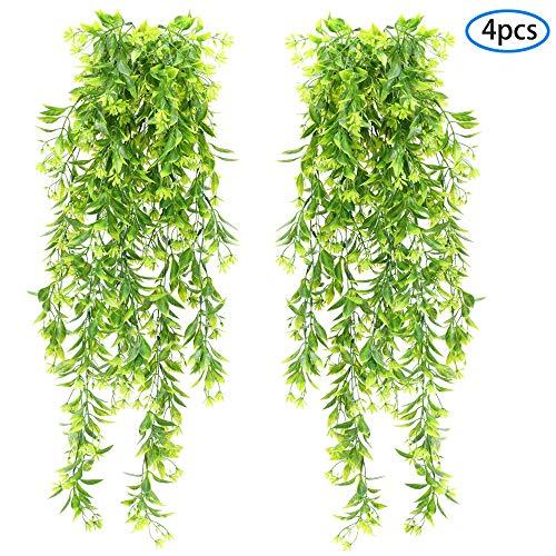 NAHUAA 4pcs Künstliche Hängepflanze Kunstpflanze Hängend Künstliche Pflanzen Unechte Grünpflanzen Plastikpflanzen Hängend für Innen Außen Balkon Garten Hochzeit Zuhause Dekoration