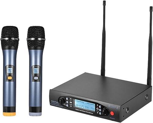 ammoon VHF Microphone Portable Sans Fil Système de Microphone Duales LCD Récepteur 2 Canaux Mics 6,35 mm pour le Câbl...