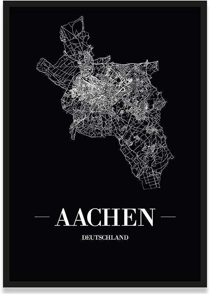 21 x 30 cm Poster Schrift A JUNIWORDS Stadtposter Aachen W/ähle eine Gr/ö/ße Wei/ß
