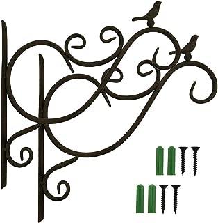 Pack of 2 Retro Iron Wall Brackets Hooks with Screw for Hanging Plant Pot, Lanterns, Bird Feeder, Wind Chimes ~ Bird On Cast Iron Planter Hanger
