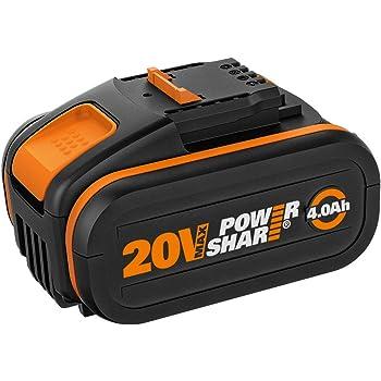 WORX WA3553 - Batería recargable de 20 V con indicador de carga integrado para todos los dispositivos Worx, batería de ion de litio PowerShare de 4000 mAh