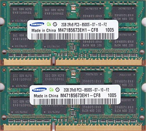 SAMSUNG PC3-8500S (DDR3-1066) 2GB x 2枚組み 合計4GB SO-DIMM 204pin ノートパソコン用メモリ【中古】