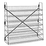 Wire Display Rack, 7 Tier, 48' Wide, Black, Free Stand or Mount