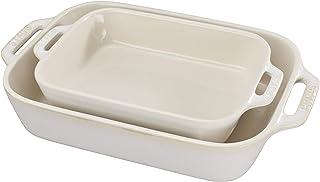 STAUB Ceramics Rectangular Baking Dish Set, 2-piece, Rustic Ivory