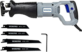 WORKPRO Sierra Sable 0-2800 RPM 710W/220-240V/50Hz Profundidad Madera 115mm/ Metal 4mm Carrera de Hoja 20mm con 4 Cuchilla...