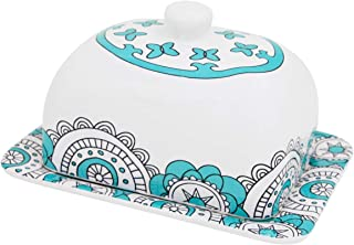 Butter Dish Keeper Large with Lid Cover Cream White & Mint Blue Porcelain (Mint Blue 7'')