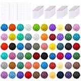 PP OPOUNT 60 Colors Diamond Painting Replacement Square Diamonds with 80 Pieces Self-Seal Bags, 3 Sheets 120 Tags Label Paper for Missing Drills of Diamond Cross Stitch DIY Crafts