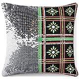 KAZOGU Fundas de almohada de lentejuelas decorativas para...