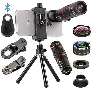 4 in 1 Cell Phone Camera Lenses Kit, 18X Telescopic Zoom Lens/4K HD Super Wide Angle/Macro/Fisheye Lens/Tripod/Camera Shut...