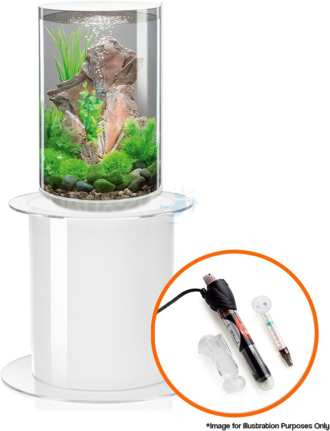 BiOrb TUBE 30L in White with MCR LED Lighting, 105 Aquarium Stand and Heater Pack