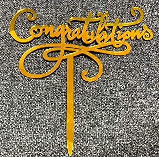 Cake Decoration Acrylic Cake Toppers Congratulations (1 style GOLD color)