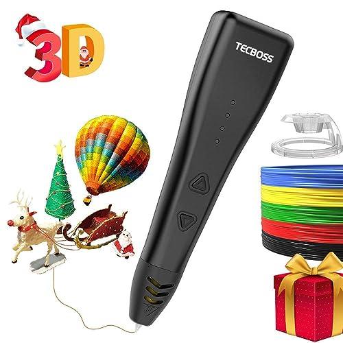 Tecboss Pluma 3D Impresion, Pluma 3D Compatible con 1.75mm filamento PLA, Lápiz 3d para Niños y Adultos-2018 Nueva versión