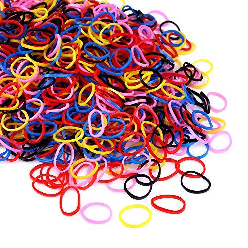 Zingso Haarband aus Gummi, klein, elastisch, 1000 Stück, mehrfarbig, für Kinder und Mädchen