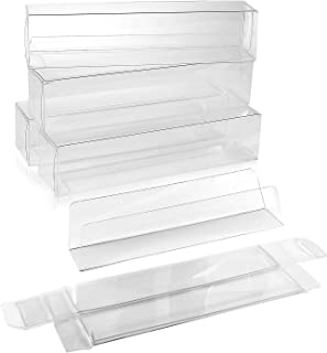 100 Chocolate Candy and Truffle Boxes with Inserts (1.38 x 1.44 x 6.25 Inch) - FDA Safe Food Storage Containers - Clear Plastic Box for Christmas, Wedding, Parties BOX1-3/8x1-7/16x6-1/4