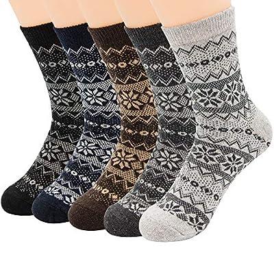 Zando Mens Warm Thick Socks Cozy Wool Sock Comfort Mid Calf Sock Winter Athletic Socks Vintage Cashmere Sock Hiking Crew Socks Cabin Sock 5 Pairs Snowflake One Size