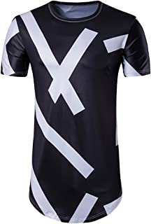 Cottory Men's Hipster Hip Hop Short Sleeve Longline T Shirt