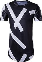 Cottory Men's Hipster Hip Hop Short Sleeve Longline T Shirt