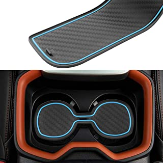 JIECHEN Custom Fit Cup, Door, and Console Liner Accessories for Toyota Rav4 2019 2020 13PC Set (Carbon Fiber Pattern - Blue)