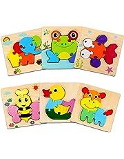 Sendida 幼児 パズル おもちゃ 木製 - 6 動物 ジグソー パズル 1 2 3 歳 おもちゃ 知育玩具 モンテッソーリ マッチング パズル 型はめ 幼児 木製 おもちゃ パズル 学習玩具 ブロックおもちゃ 6種類