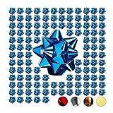 Relaxdays Set de 100 Lazos Regalo Adhesivos, Polipropileno, Azul, 5 cm de Diámetro