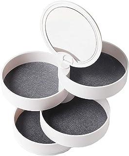 Portagioie con specchio, girevole, 4 cassetti per anelli, orecchini, collane, bracciali, trucchi, forma rotonda (nero)