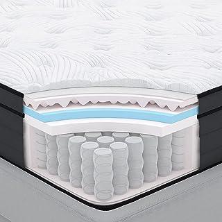 Sweetnight Madrass 180 x 200 cm fickfjädermadrass h4 med gelskum ortopedisk punktelastisk madrass mot ryggsmärtor Hårdhets...