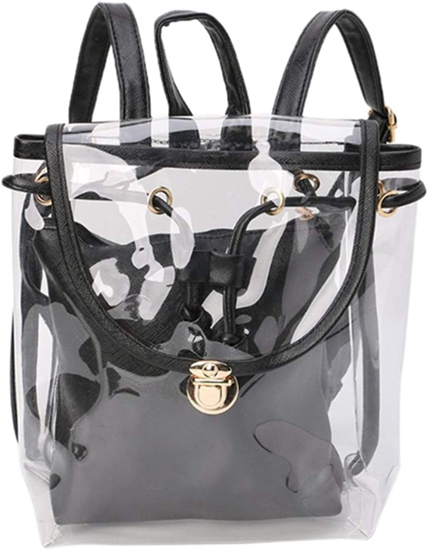 2 In 1 Drawstring Backpack Transparent Travel Beach Rucksack PVC Shoulder Bags Black