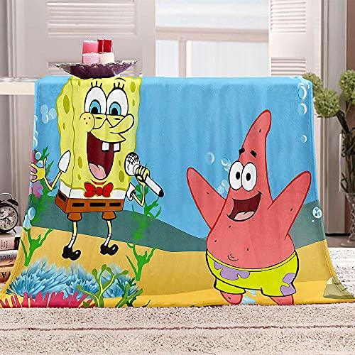 Flanelldecke Kuscheldecke Spongebob Zeichentrickfilm Sherpa Decke 3D Gedruckt Warm Flauschige Decke TV-Decke Sofadecke Wohndecke Tagesdecke Kinderdecken 130x150cm
