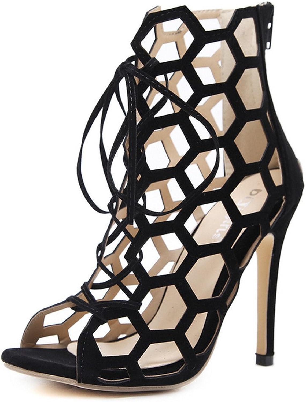 MODEOK Fashion Women's Openwork Sandals Cross Straps Stiletto Heels Toe Rear Zipper