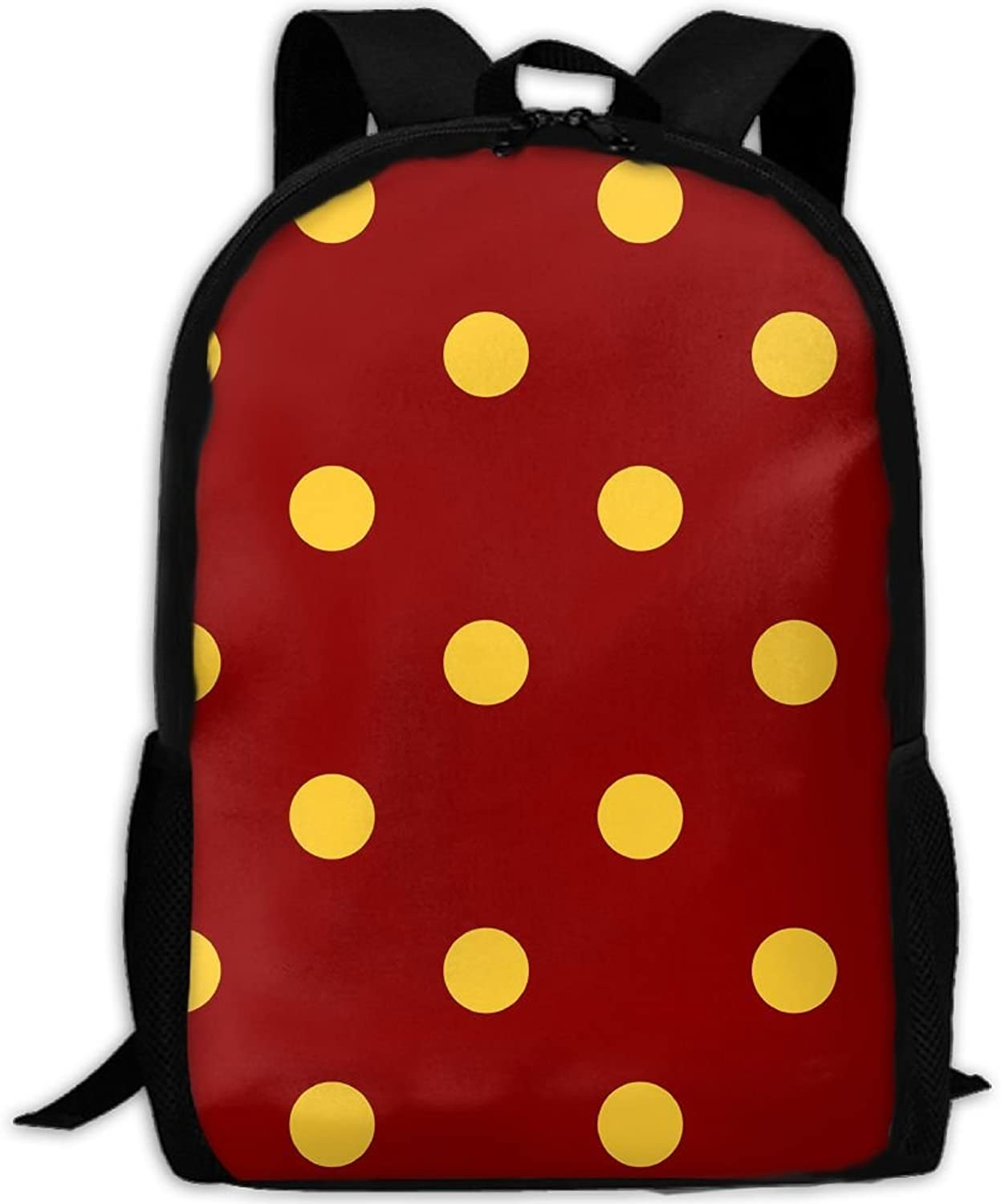 Backpack Laptop Travel Hiking School Bags Red Yellow Dots Daypack Shoulder Bag