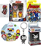 Pop Super Pack Marvel Heroes Mini Figure Hanger Exclusive War Machine Pocket Keychain Bundled with Heroes Black Panther Car + Tsum Mystery Pack + Pins Captain America / Iron Man 4 Items