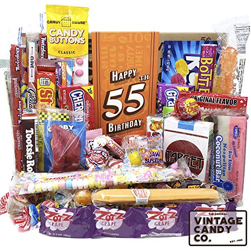 VINTAGE CANDY CO. 55TH BIRTHDAY RETRO CANDY GIFT BOX - 1965 Decade Childhood Nostalgic Candies - Fun...