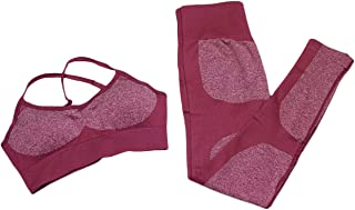 SOMTHRON Women's 2PCS Solid Racerback Sports Bra Gym Yoga Pants Leggings Set Activewear Tank Tops and Legging Tights