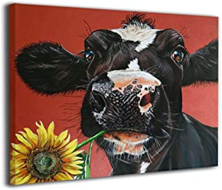 Kingsleyton Rustic Funny Black Farm Cow Sunflower Farmhouse Animal Black and Red Calf Cattle Dairy barnyard Wall Art Paintings Modern Home Decor Stretched and Framed Ready to Hang 16'' X 20''