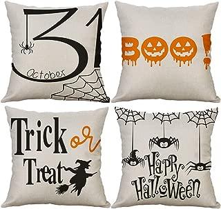 LEVOSHUA 4 Pack Halloween Trick or Treat Pillowcase Throw Pillow Case Cushion Cover October 31 Boo Cotton Linen Pillowcase Home Decorative for Sofa 18