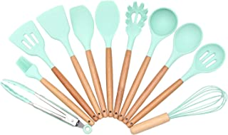 Silicone Spatula Set - Yamoo 11 Piece Heat-Resistant Spatulas & Baking Spoon, Safe Soft and Non-stick Flexible Silicone Rubber Spatulas Cooking Utensils with Bamboo Wooden Handles