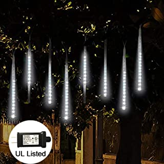Adecorty LED Meteor Shower Rain Lights, Falling Rain Lights UL Listed Plug, 30cm 8 Tube 144 LED Falling Rain Drop Icicle String Lights, Snow Falling Lights for Christmas Holiday Outdoor Decor (White)