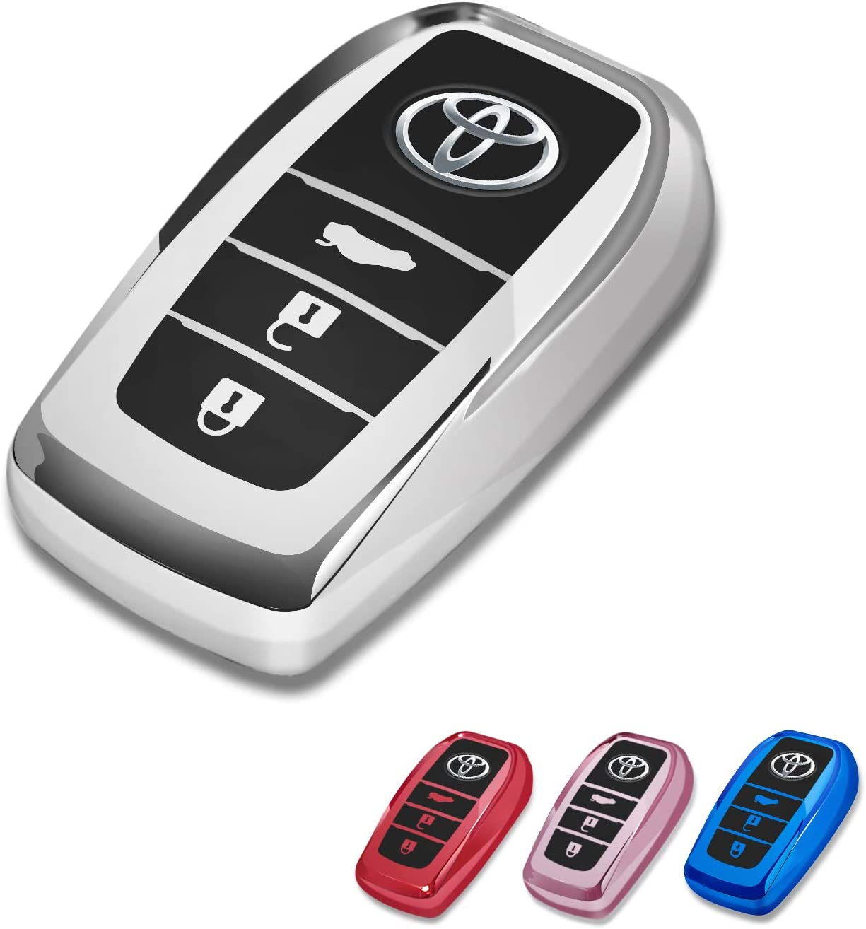Key Fob Case for Toyota camry RAV4 COROLLA highlander CROWN LAND CRUISER PRADO 3 Buttons Smart Remote Premium Soft TPU Toyota Key Fob Holder Silver for Toyota Key Fob Cover