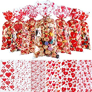 180 Pieces Valentines Treat Favor Bags Cellophane Plastic Clear Candy Goodie Gift Bags with 200 Pieces Gold and Red Twist Ties for Valentine s Day Party Decorations 6 Assorted Styles