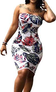 FREE Shipping on eligible orders. Imily Bela Womens Floral Strapless Off  The Shoulder Bodycon Tube Top Midi Dress Plus Size a45b8fd568f1