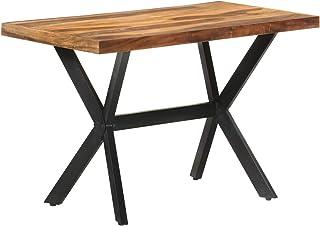 Tidyard Table de Salle à Manger, Table de Repas Meuble à Manger, Table Console Extensible 120x60x75 cm Bois Massif