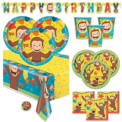Curious George Deluxe Children's Birthday Party Supplies Pack with Decorations - Serves 16