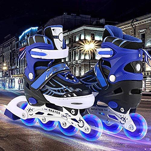 fiugsed Leucht PU Räder Inline-Skates Rollschuhe für Kinder, Verstellbar mit leuchtenden PU-Rädern Triple Protection Lightweight Inline Skates, größenverstellbar von 31 bis 42