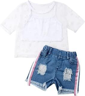 Dookingup Trajes de Verano para niños y niñas, Chaleco de Tul con diseño de Estrella, Parte Superior de Malla y Pantalones Cortos de Mezclilla Rasgada
