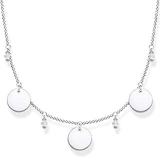 Thomas Sabo – Collar para mujer con tres monedas y piedras blancas, plata de ley 925, 40-45 cm de longitud