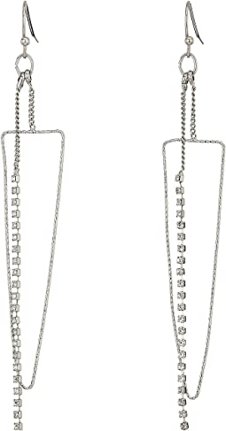 GUESS Dainty Triangle and Linear Chain Drop Earrings