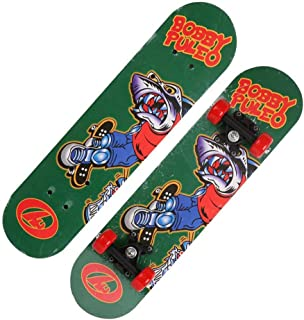 Mini Complete Skateboard-Beginner Skateboard 23.6 Inch Anime Shark Head Boy Pattern Children Skateboard Pop Skateboard Cruiser for Children Over 3 Years Old