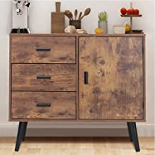 IWELL Mid Century Storage Cabinet with Door & 3 Drawers, Wood Floor Storage Cabinet with Adjustable Shelf, Accent Cabinet ...