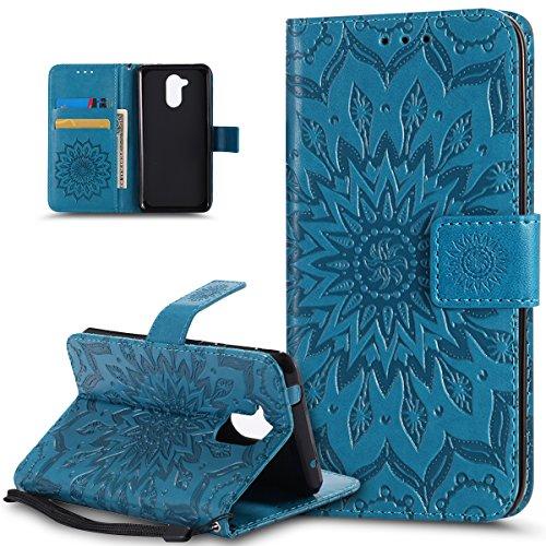 Kompatibel mit Huawei Honor 6C Hülle,Huawei Honor 6C Schutzhülle,Prägung Mandala Blumen Sonnenblume PU Lederhülle Flip Hülle Cover Ständer Etui Wallet Tasche Hülle Schutzhülle für Huawei Honor 6C,Blau