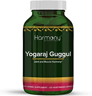 Harmony Nutraceuticals Yogaraj Guggulu - Organic - 120 Capsules - Ayurvedic Herbs for Pain in The Muscles, Nerves & Joints